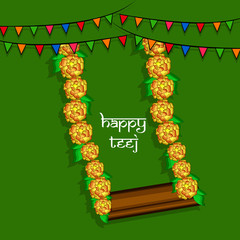 Illustration of background for the occasion of religious  festival Teej celebrated in India