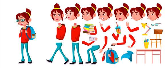 Girl Schoolgirl Kid Vector. High School Child. Animation Creation Set. Emotions, Gestures. School Student. Expression, Positive Person. Web, Brochure, Poster Design. Animated. Cartoon Illustration