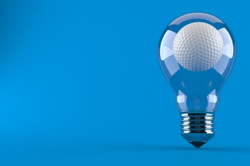Golf ball inside light bulb