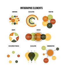 Infographic Elements, Timeline Presentation Vector Set. Brown, Green Graphic Information, Data Visualisation Design. Data Rating Diagram, Path, Target Chart. Education Poster Infographic Elements.