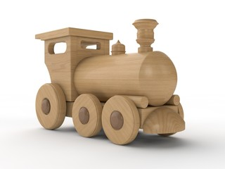 Children's toy locomotive, wooden train. 3D illustration isolated on white background. Close-up, 3D rendering