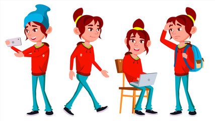 Girl Schoolgirl Kid Poses Set Vector. High School Child. High School. Teaching, Educate, Schoolkid. For Web, Brochure, Poster Design. Isolated Cartoon Illustration