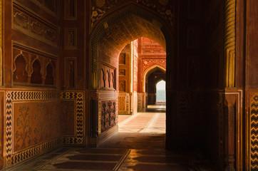 Decorated corridors and hallways in the Taj Mahal main mosque, Agra, India.