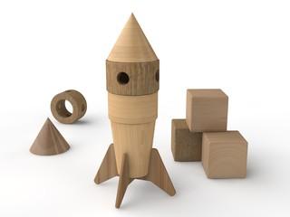 Illustration of a toy rocket made of wood. Designer for children. 3D rendering.