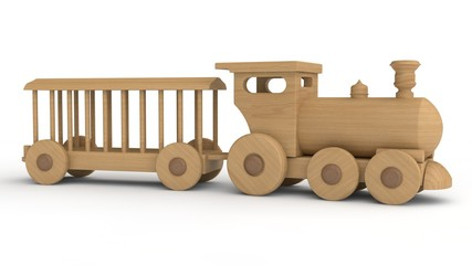 3D illustration of a wooden locomotive and an empty car. Children's toy, model, souvenir. 3D rendering isolated on white background.
