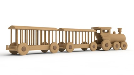 3D illustration of a wooden locomotive and wagons. Children's toy, model, souvenir. 3D rendering isolated on white background.