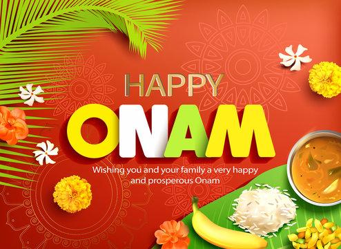 Happy Onam background with traditional food (sadya) served on banana leaf for South India harvest festival. Vector illustration.