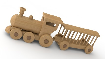 3D illustration of a wooden locomotive and empty wagons. Children's toy, model, souvenir. 3D rendering isolated on white background. The train is tilted, close-up..