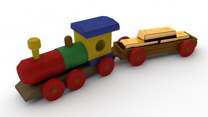 3D illustration of a wooden train, toys with a car. Lucky three gold bars. The idea of Bank, capital, Deposit, monetary Fund, financial reserve, wealth. Image on white background, isolated.
