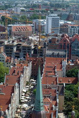 Townscape  with red roofs in old city Gdansk made from top, aerial landscape with tilt-shift lens