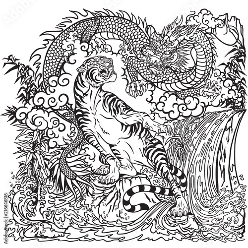 Chinese dragon and tiger in the landscape with waterfall ...