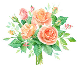 Watercolor bouquet of flowers. Hand painted floral composition isolated on white background. Vintage style