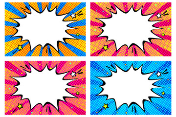 Comic book colorful background with rays.
