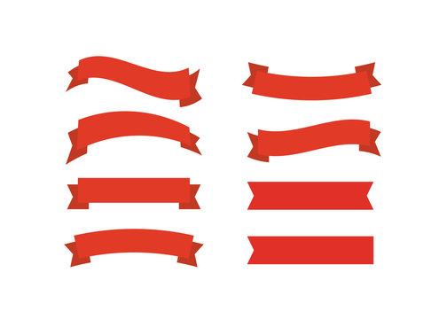 Vector red ribbons. Ribbon banner promotion vector illustration.