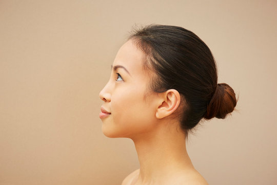 Woman with hair bun