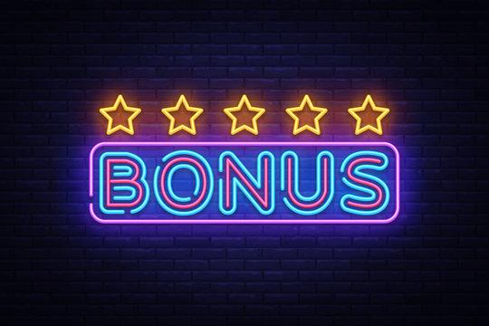 Bonus Neon Text Vector. Bonus neon sign, design template, modern trend design, night neon signboard, night bright advertising, light banner, light art. Vector illustration