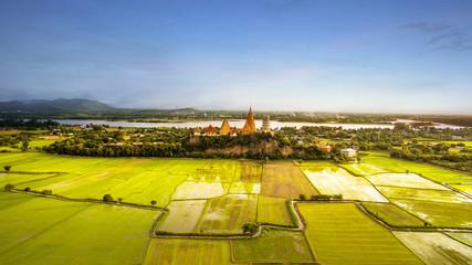 high angle view of wat thum saue most popular religion traveling destination in kanchanaburi thailand