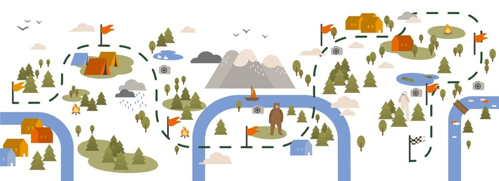 Horizontal banner with trail map, hiking route or footpath decorated with touristic areas, camping locations and landmarks marked by flags. Colorful vector illustration in flat cartoon style.