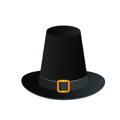 Black Gradient Pilgrim Hat Happy Thanksgiving Day Autumn Traditional Harvest Holiday Concept Flat Vector Illustration