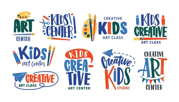 Collection of letterings handwritten with calligraphic fonts for logo of art class or creative studio for children. Set of inscriptions for kids' creativity center logotype. Vector illustration.