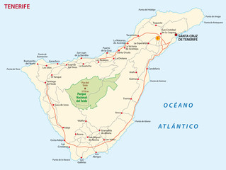 Vector road map of Canary Island tenerife