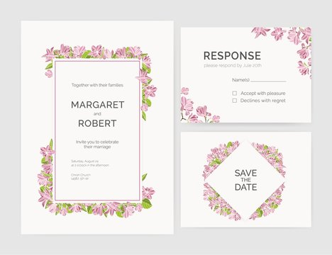 Set of gorgeous wedding invitation, save the date and response card templates decorated by magnolia tree flowers hand drawn on white background. Natural vector illustration for event celebration.