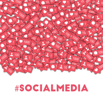 Social media. Social media icons in abstract shape background with counter, comment and friend