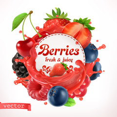Berries, 3d vector label