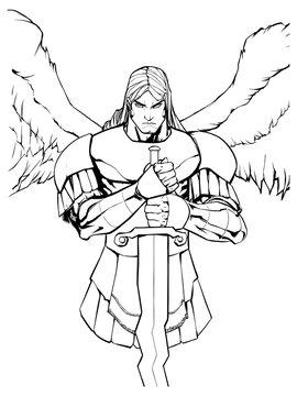 Line art portrait of Archangel Michael holding his sword.