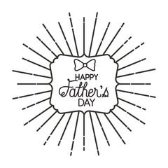 fathers day frame sunburts with elegant bowtie vector illustration design