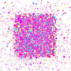 Square shape with confetti isolated on white. Background with multicolored glitters. Pattern for design. Print for polygraphy, posters, banners and textiles. Greeting cards. Luxury texture