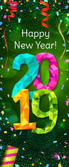 Happy New Year 2019 greeting vertical banner. Festive illustration with colorful confetti, party popper and sparkles. Vector
