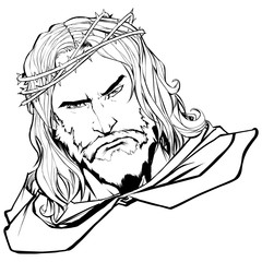 Line art portrait of Jesus Christ wearing crown of thorns and looking at you with serious expression.