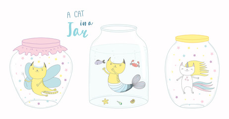 Set of glass jars with cute funny cat fairy, unicorn, mermaid inside. Isolated objects on white background. Hand drawn vector illustration. Line drawing. Design concept for children print.