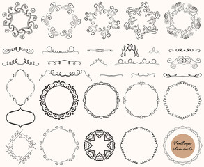 Vector collection of vintage decorative elements, lines, ornaments, frames, calligraphic designs