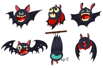 Vampire bat vector cartoon character set isolated on white background. Сute personage with different emotions for Halloween.