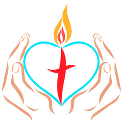 Hands holding a heart with a cross and flame