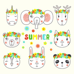 Set of cute funny unicorn, bunny, cat, panda, deer, owl , bear, elephant faces in flower crowns. Isolated objects on white . Hand drawn vector illustration. Line drawing. Design concept children print
