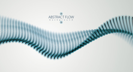 Flowing particles wave, dynamic sound motion. 3d vector illustration. Beautiful wave shaped array of blurred dots.