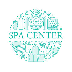 Spa center banner illustration with flat line icons. Essential oils, aromatherapy massage, turkish steam bath hamam sauna. Circle template thin linear signs body treatments.