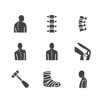 Spine, backbone flat glyph icons. Orthopedics clinic, medical rehab, back trauma, broken bone, posture correction, scoliosis. Health care, hospital vector signs. Solid silhouette pixel perfect 64x64