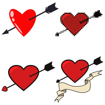 Arrow through heart vector set of different icons: pixel, cartoon, tattoo in flat style isolated on a white background.