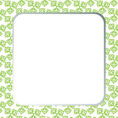 Squared frame with green seamless pattern