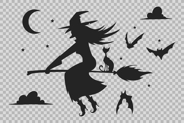 Witch on a broom, black cat and bats silhouette. Halloween icons isolated on a transparent background.