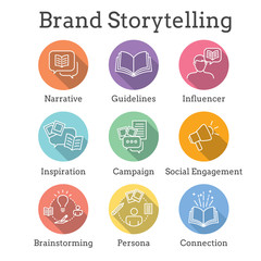 Storytelling Icon with Photo, Speech Bubbles, and person telling a brand & advertising story