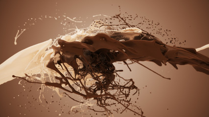Milk and chocolate splash in slow motion. 3D illustration of white and brown liquid cream drops splash isolated on brown. 4K bright white and dark design element