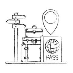 suitcases travel around world icons vector illustration design