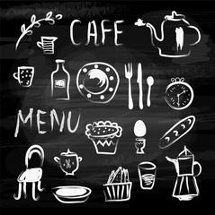 Menu cafe set vector illustration