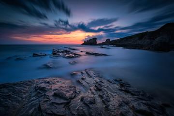Magnificent sunrise view at the Black sea coast near Sinemorets, Bulgaria