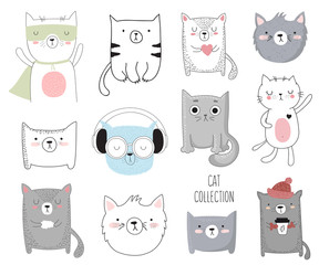 Vector collection of cute doodle cat. Adorable objects isolated on background